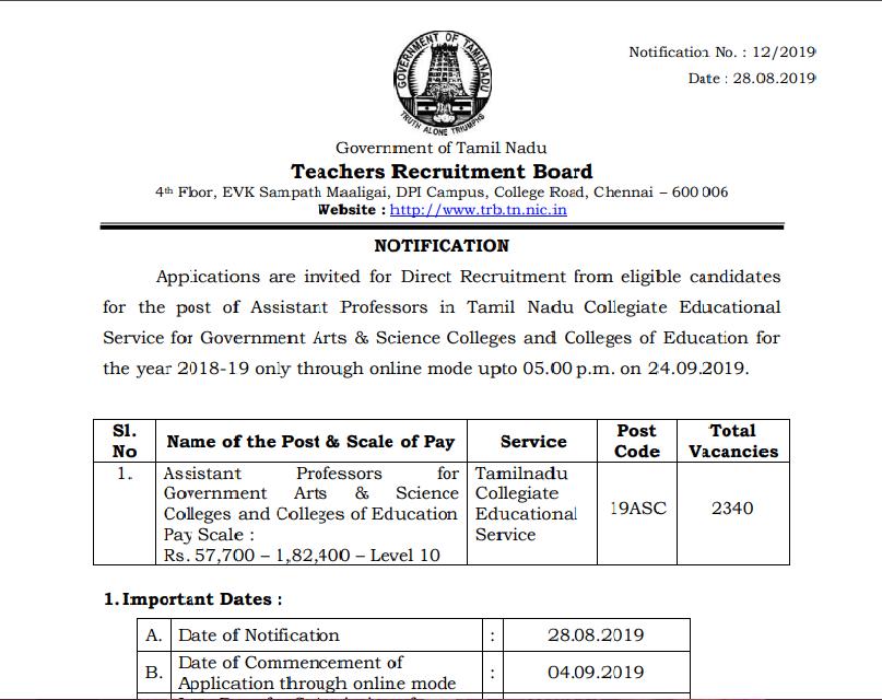 Govt job 2019 TamilNadu